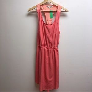 Pink rose small pink tank elastic waist dress